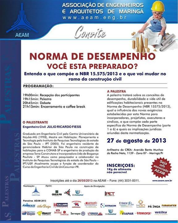 Convite AEAM NBR 15575-2013
