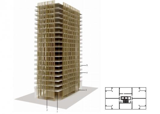 Figura 3 – estrutura do Tall Wood e planta baixa de um pavimento.
